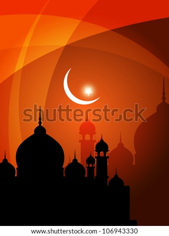 beautiful religious eid background with mosque. Vector illustration - stock vector