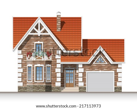 Beautiful residential brick house with a mansard and garage. Front elevation.