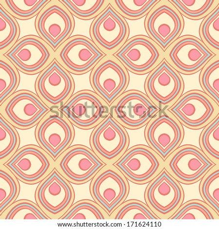 beautiful retro geometric pattern with pink and yellow stylized petals. vector illustration  - stock vector