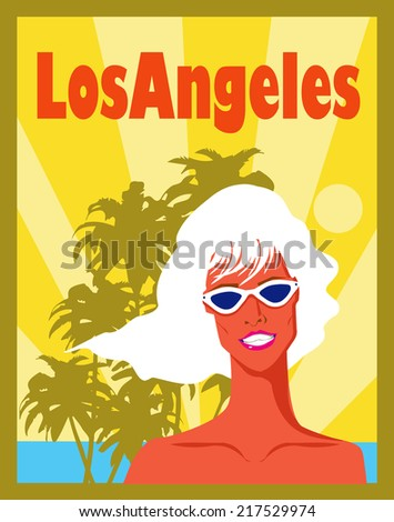 Beautiful retro woman in vintage nature - stock vector