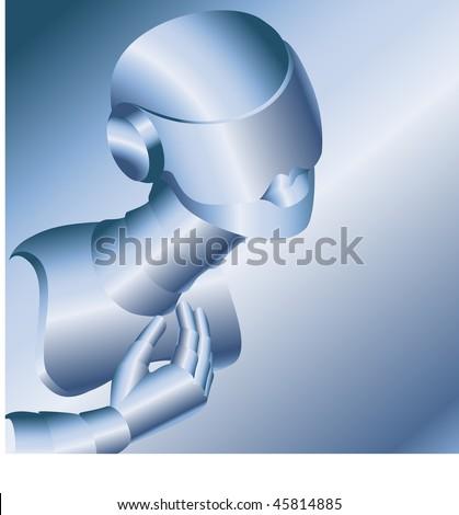 Beautiful robot-woman - stock vector
