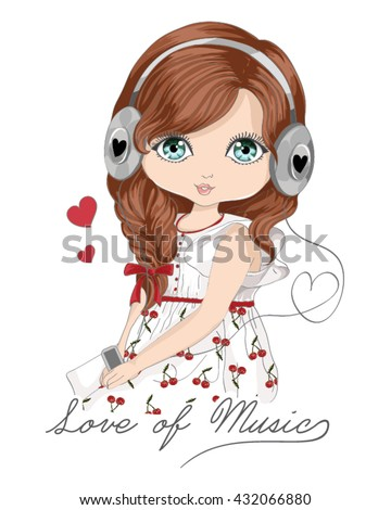 Beautiful romantic girl / T-shirt Graphics / love of music / cartoon character design / typography design / music themed book illustration / girl vector
