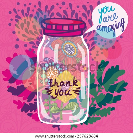 Beautiful romantic vector illustration of Glass jar and awesome flowers. Perfect for romantic greeting cards, wedding invitations and summer backgrounds.  - stock vector