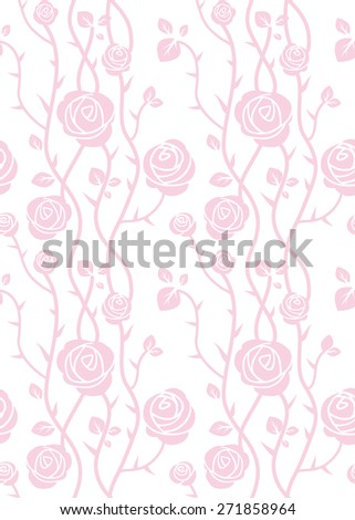 Beautiful roses seamless pattern. Pink pastel color. Simple natural background - stock vector