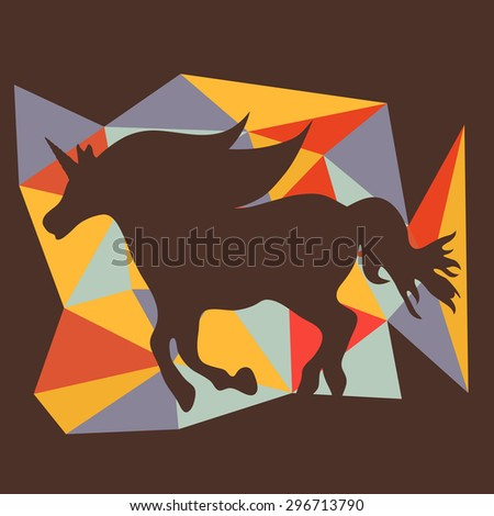 Beautiful running unicorn  horse silhouette on a geometrical background. Vector illustration - stock vector