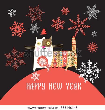 Beautiful Russian cat Happy New Year vector illustration - stock vector