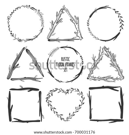 Beautiful Rustic Frames Isolated On White Hand Drawn Vector Floral Round Wreaths