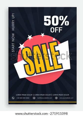 Beautiful sale poster, banner or flyer design with 50% discount offer. - stock vector