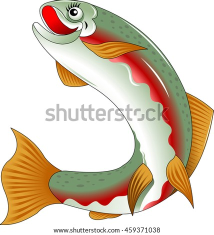 beautiful salmon fish swims the sea, vector and illustration