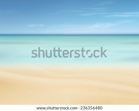 beautiful sand of beach scene background with great weather - stock vector