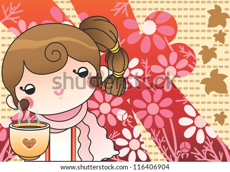 Beautiful Scenery with Autumnal Flowers - relaxing a happy smiling lovely young girl with a sweet drink and pink flowers in romantic garden on a brown background of dotted lines : vector illustration - stock vector