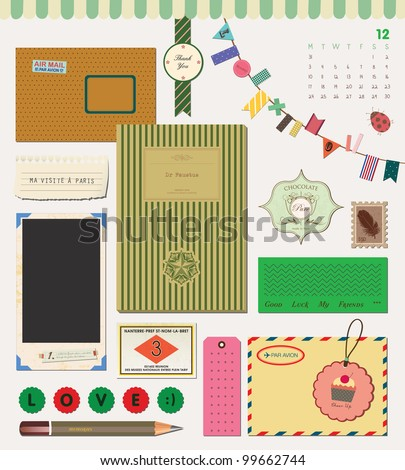 Beautiful Scrapbook Element - My Stationery Collection - stock vector