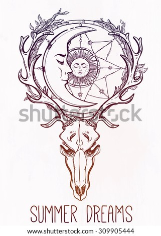 Beautiful scull tattoo art. Vintage deer scull with antlers and branches and ornate dream catcher with stars, sleeping moon and sun in it. Hand drawn outline work. Vector illustration. Isolated.  - stock vector