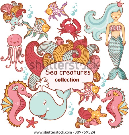 Beautiful sea collection of sea animals