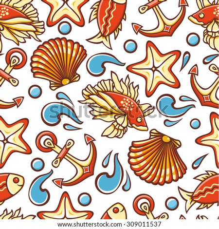 Beautiful sea seamless pattern. Anchor, waves, shell, fish, starfish. Cheerful colorful style. Linear pattern on a white background. Line drawing festive. Vector drawing.