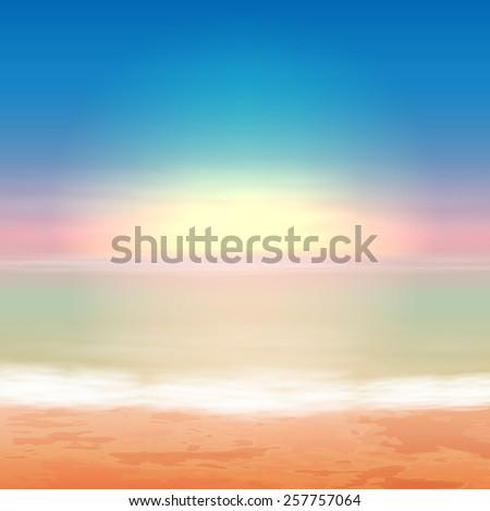 Beautiful sea sunset. EPS10 vector. - stock vector