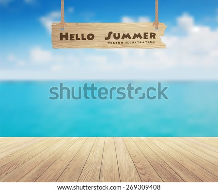 Beautiful sea view and wood planks floor background, Vector illustration design - stock vector