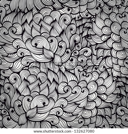 Beautiful seamless abstract hand drawn monochrome background with clouds, leaves and flames. Eps10 - stock vector