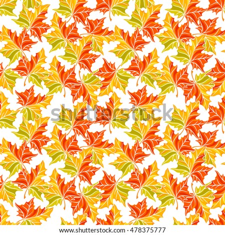 Beautiful seamless background of autumn maple leaves. hand-drawn illustration