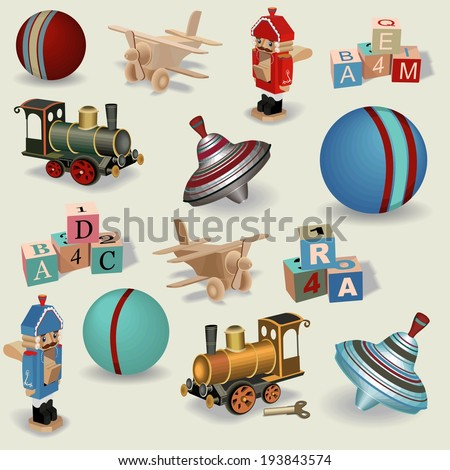 Beautiful seamless background of realistic vintage toys , vector. - stock vector