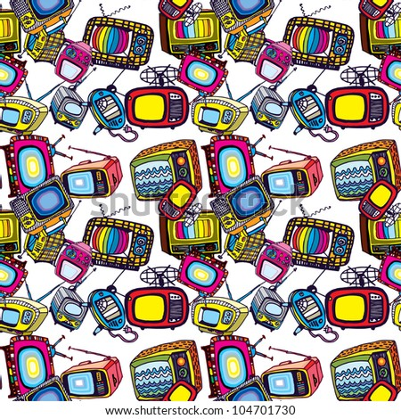 Beautiful Seamless Background of Vintage TVs (vector) - stock vector