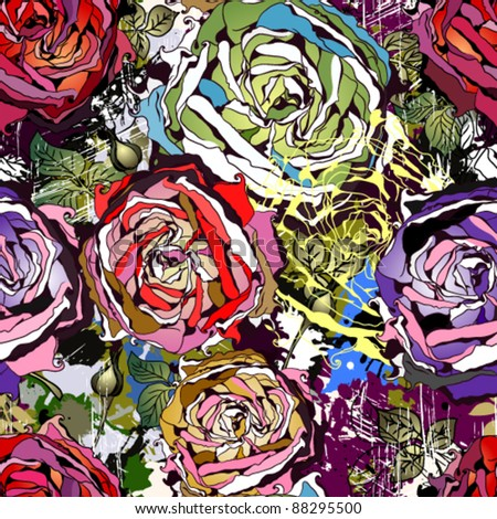 Beautiful seamless background with abstract colored roses - stock vector