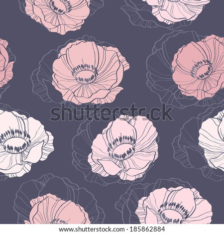 Beautiful seamless background with anemone flowers - stock vector