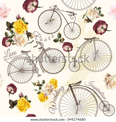 Beautiful seamless background with retro hand drawn bicycles and roses for wedding design - stock vector