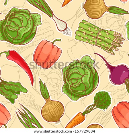 Beautiful seamless background with various autumn vegetables. vector illustration  - stock vector