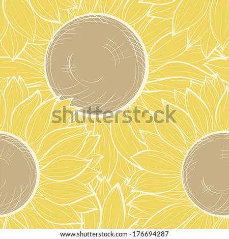 Beautiful seamless background with vintage sunflowers. Hand-drawn contour lines and strokes.