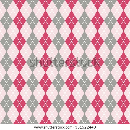 Beautiful Seamless Classic Argyle Pattern. Diamond shapes background. Cloth design, decorative paper, web design. Beautiful Gradient red, pink, gray, grey colors.  - stock vector