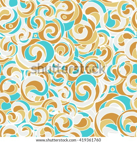 Beautiful seamless color pattern in doodle style, hand-drawn. Bright interlacing loops, waves and curls, juicy summer colors perfect for decoration fabrics, packaging, web design. Vector pattern. - stock vector