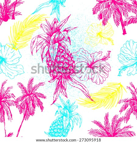 Beautiful seamless floral jungle abstract pattern background. Pineapple, palm trees and tropical flowers - stock vector