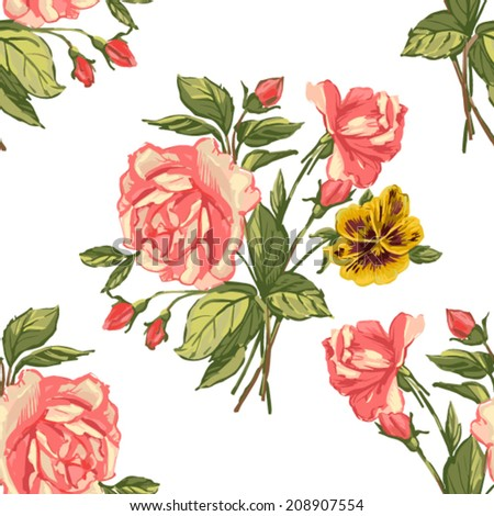 Beautiful seamless floral pattern background. Flower bouquets - stock vector