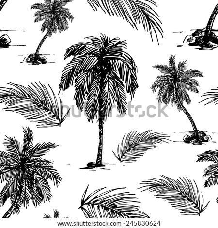Beautiful seamless floral pattern background. Palm trees and leaves - stock vector