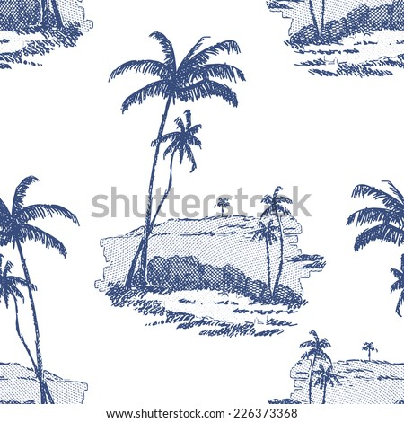 Beautiful seamless floral pattern background. Palm trees on white background
