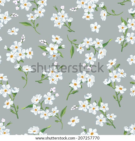 Beautiful seamless floral pattern, flower vector illustration. Abstract Elegance vector illustration texture with forget-me-not. Decorative Beautiful vector illustration texture.  - stock vector