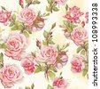Beautiful seamless floral pattern, flower vector illustration. Elegance wallpaper with of pink roses on floral background. - stock photo