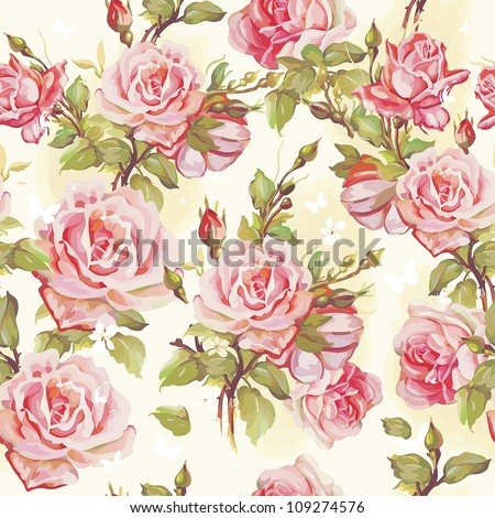 Beautiful Seamless Floral Pattern Flower Vector Illustration Elegance Wallpaper With Of Pink Roses On