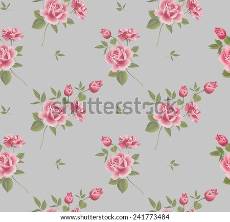 Beautiful seamless floral pattern, flower vector illustration. Elegance wallpaper with of pink roses on floral background - stock vector