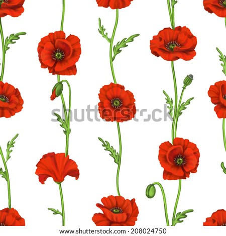 Beautiful seamless floral pattern, flower vector illustration. Elegance wallpaper with of  poppy on floral background. Decorative Beautiful vector illustration texture.