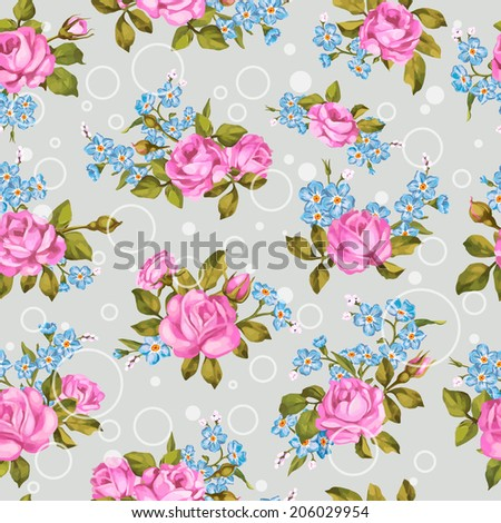 Beautiful seamless floral pattern, flower vector illustration. Elegance wallpaper with of  roses and forget-me-not on floral background. Decorative Beautiful vector illustration texture.  - stock vector