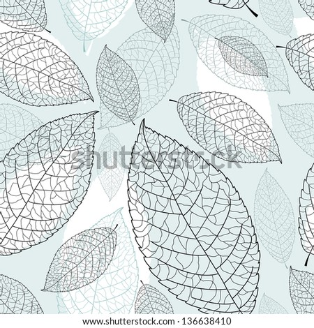 beautiful seamless graphic pattern of leaves on a blue background