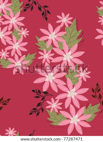 Beautiful seamless pattern floral fill a contour - stock vector
