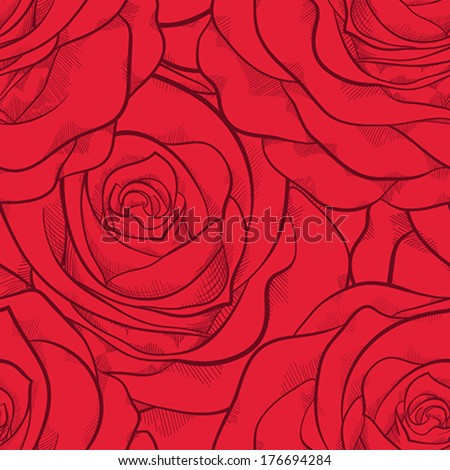 beautiful seamless pattern in red roses with contours. Hand-drawn contour lines and strokes. Perfect for background greeting cards and invitations to the day of the wedding, birthday, Valentine's Day - stock vector