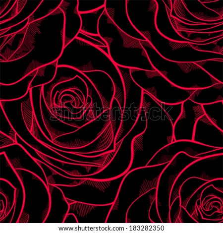 beautiful seamless pattern in roses with contours. Hand-drawn contour lines and strokes. Perfect for background greeting cards and invitations of the wedding, birthday, Valentine's Day - stock vector