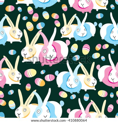 Beautiful seamless pattern of Easter bunnies and eggs
