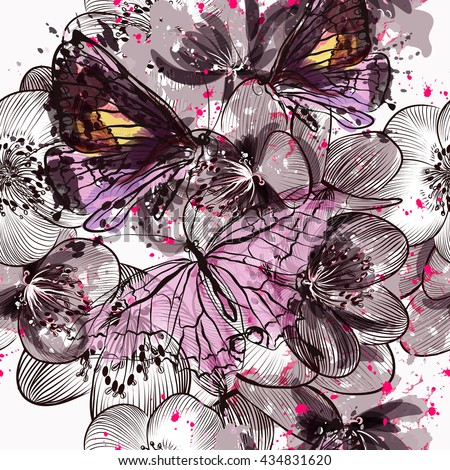 Beautiful seamless pattern or background with flowers and butterflies  in watercolor style painted by spots - stock vector
