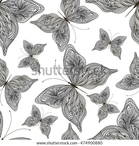 Beautiful seamless pattern with abstract butterflies. Vector illustration. EPS 10