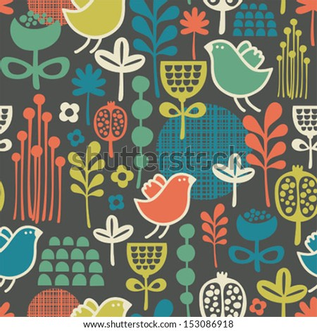 Beautiful seamless pattern with cute birds and pretty flowers. Vector background.  - stock vector